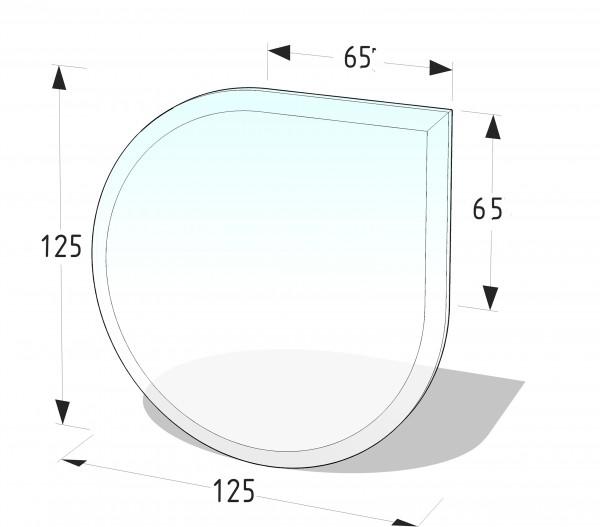 Glasbodenplatte P11 GR - Tropfenform 1250x1250 (mm)